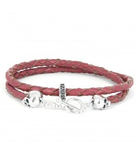 Bellamy - Pink - handmade leather and Sterling Silver wrap bracelet