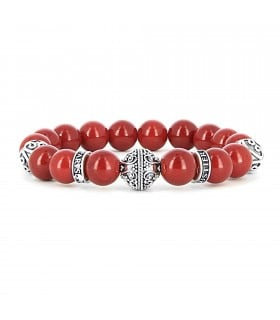Silver Grenade Red Mountain Stone - handmade red mountain stone bracelet