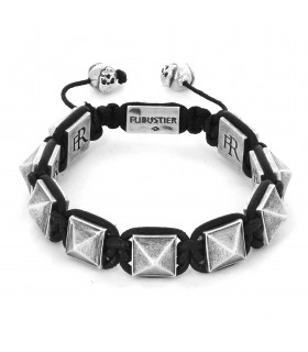 El Castillo - Black leather and Sterling Silver pyramids