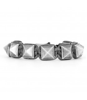 El Castillo - Grey leather and Sterling Silver pyramids