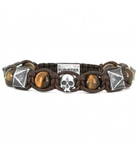 San Felipe de Barajas - Brown leather and tiger's eye bracelet