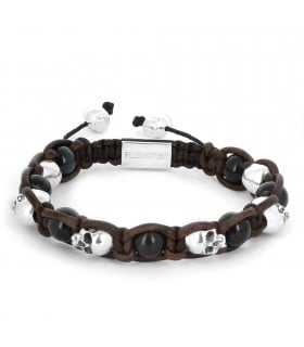 Pride of the Tortuga - Falcon's eye and Sterling Silver skulls leather macramé bracelet