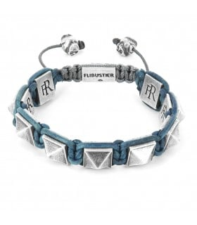 El Castillo - Blue leather and Sterling Silver pyramids