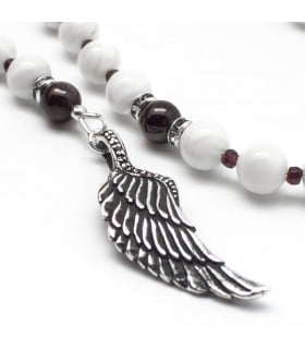 Angelwing of MOP and blood - handmade MOP and garnet rosary