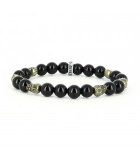 Black 8 - Pyrite skull 08 mm bracelet