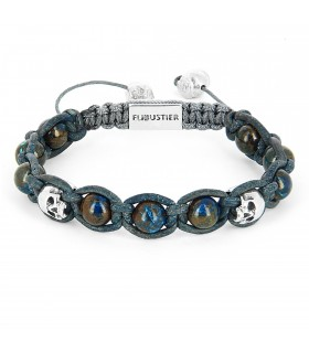 Blue Lagoon - Chrysocolle and Sterling Silver skulls leather macramé bracelet