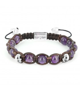 The Mermaid's Return - Amethysts and Sterling Silver skulls leather macramé bracelet