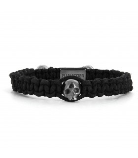 Skull String Black edition - naturally dyed leather macramé bracelet