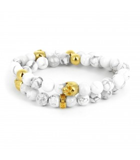 Howlite Skull Wrap - Gold edition