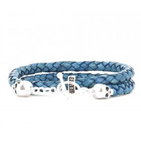 Bellamy - Pacific Blue - handmade leather and Sterling Silver wrap bracelet