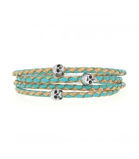 Maelström - Turquoise & cream leather wrap-around bracelet