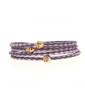 Maelström - Violet & pink leather wrap-around bracelet