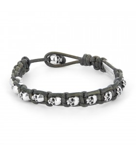 John Silver - hand braided gray vintage leather bracelet with Sterling Silver skulls
