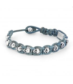John Silver - hand braided blue vintage leather bracelet with Sterling Silver skulls