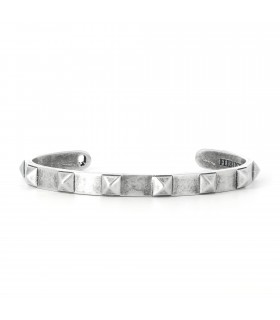 Bangle Pyramides - Jonc en argent 925 finition antique