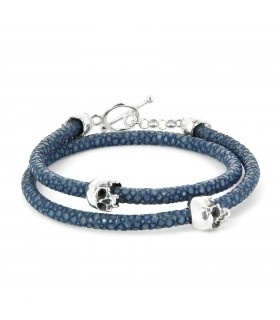 Bellamy Stingray - Berlin Blue - handmade blue leather and Sterling Silver wrap bracelet