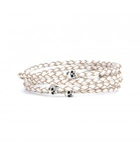 Maelström - White leather wrap-around bracelet