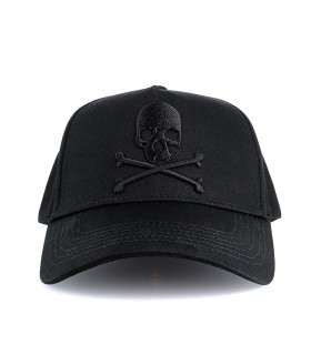 Black Skull Baseball Cap with 3D Jolly Roger skull embroidery