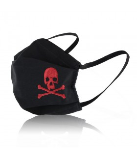 Black Protective Face Mask with Jolly Roger embroidery