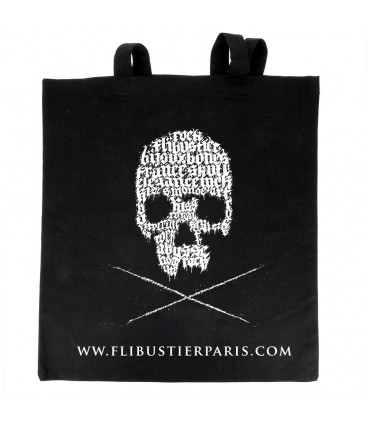 Cotton beach bag with screen-printed skull by Oskunk