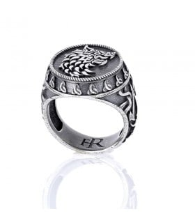 Viking Sterling Silver Signet Ring - Fenrisúlfr Wolf - Official Assassin's Creed Valhalla x Flibustier Paris jewelry