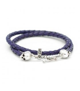 Bellamy - Violet - handmade leather and Sterling Silver wrap bracelet
