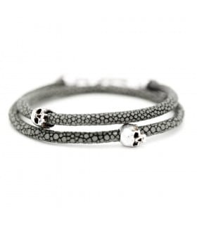 Bellamy - Stingray Steel - handmade leather and Sterling Silver wrap bracelet