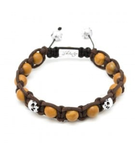 The Devils Buccaneers - Petrified Wood and Sterling Silver skulls leather macramé bracelet