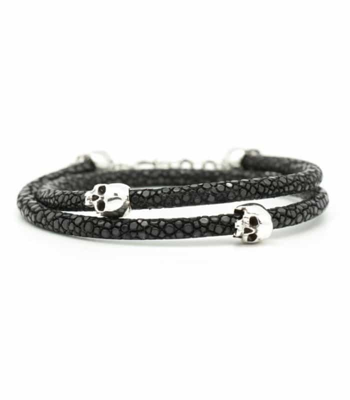 Bellamy - Stingray Black - handmade leather and Sterling Silver wrap bracelet
