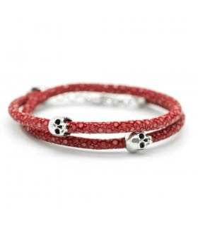 Bellamy - Stingray Ruby - handmade leather and Sterling Silver wrap bracelet