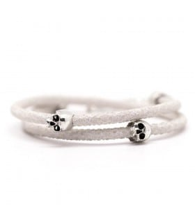 Bellamy - Stingray Snow - handmade white leather and Sterling Silver wrap bracelet