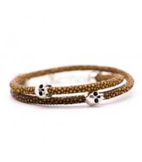 Bellamy - Galuchat Grains de Moutarde - bracelet en cuir naturel marron et argent