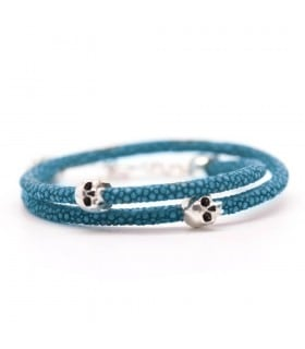 Bellamy - Stingray Carribean - handmade turquoise leather and Sterling Silver wrap bracelet