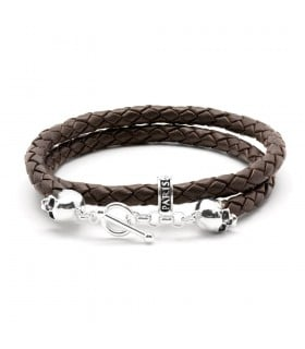 Bellamy XL - Dark chocolate - handmade leather and Sterling Silver wrap bracelet