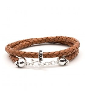 Bellamy XL - Cannelle - handmade leather and Sterling Silver wrap bracelet