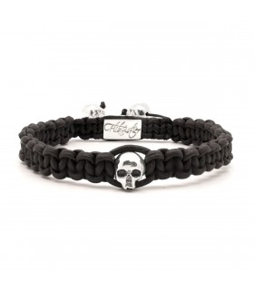 Skull String Black - naturally dyed leather macramé bracelet