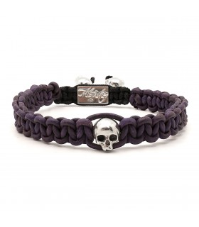 Skull String Byzantium - naturally dyed leather macramé bracelet