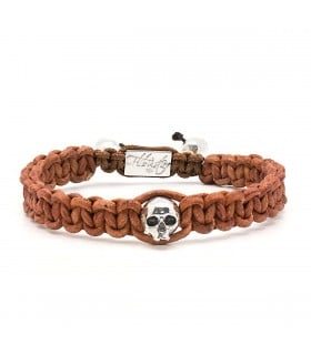 Skull String Cinnamon - naturally dyed leather macramé bracelet