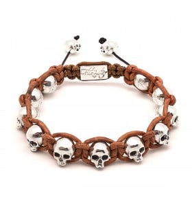 Black Beard - Full Skull leather bracelet