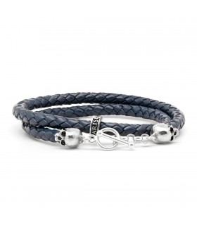 Bellamy XL - Berlin Blue - handmade leather and Sterling Silver wrap bracelet