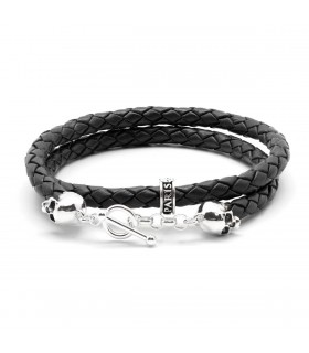 Bellamy XL - Black - handmade leather and Sterling Silver wrap bracelet