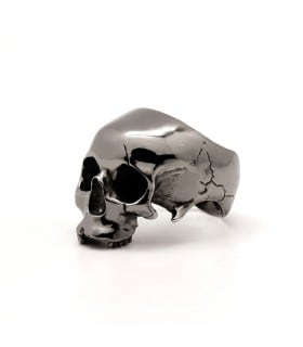 Hamlet Ring Black edition  - Sterling Silver skull ring with ruthenium plating