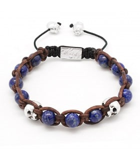 The Plank - Lapis Lazuli and Sterling Silver skulls leather macramé bracelet